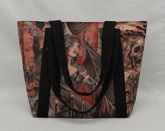 Red and Black Gothic Zippered Tote Bag, Sorceress vs Grim Reaper, Bats Skulls Ravens