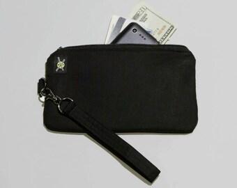 Plain All Black Phone Wristlet Purse, Fabric Clutch, Zipper Pouch, Detachable Strap, No Design, No Print, Small Zipper Purse