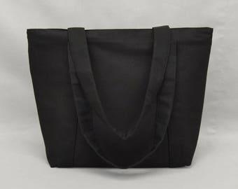 Black Zippered Tote Bag, Fabric Purse with Pockets, Canvas Liner, Women's Shoulder Bag, Plain No Print