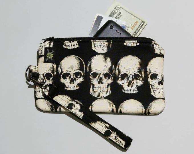 Skulls Phone Wristlet, Realistic Anatomical Skulls on Black, Zipper Pouch, Wallet Wristlet, Detachable Strap, Small Purse