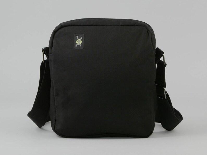 4ee302fb85d7 All Black Small Crossbody Bag Zipper Closure Womens Mens