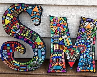 "MOSAIC LETTERS/INITIALS - 10"" Tall - Totally Customizable - 'Wild & Funky Style' and Colors' - Order 10"" Size Letters From This Listing/Ooak"