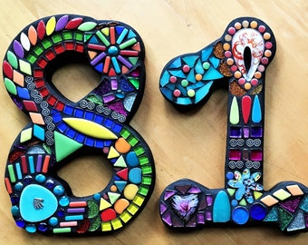 """MOSAIC HOUSE NUMBERS - 7"""" Tall - Customizable - Mixed Media Mosaics - Unique 'Wild & Funky' Style - Order 7"""" Size From This Listing - Ooak!"""