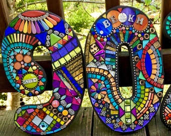 """MOSAIC HOUSE NUMBERS - 12"""" Tall - Customizable Mixed Media - Order 12"""" Size From This Listing /Only 10.00 Shipping on This Size or Larger!"""