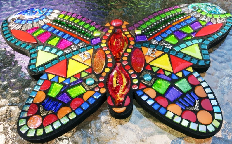 MOSAIC BUTTERFLY /'Wild /& Funky/' Style Gems Tiles Multicolored Your Color Choice OOAK! Beads 16x10 Glass Custom Order