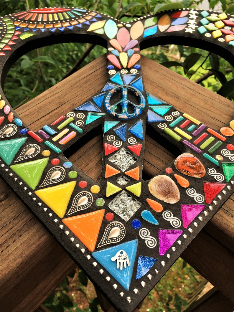 Glitter Tiles Multicolor Glass Beads /& Silver Embellishments  2 Sizes Offered  Unique! Ceramic Pieces MOSAIC HEART Shape  Peace Sign