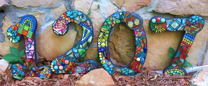 Larger Custom Made Mixed Media Mosaic House Numbers Etsy