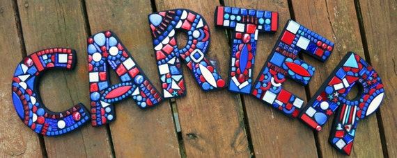 This is my /'Wild /& Funky/' Style in Shades of Blues and Greens  7 tall Unique! Totally Customizable MOSAIC LETTERSINITIALSNames