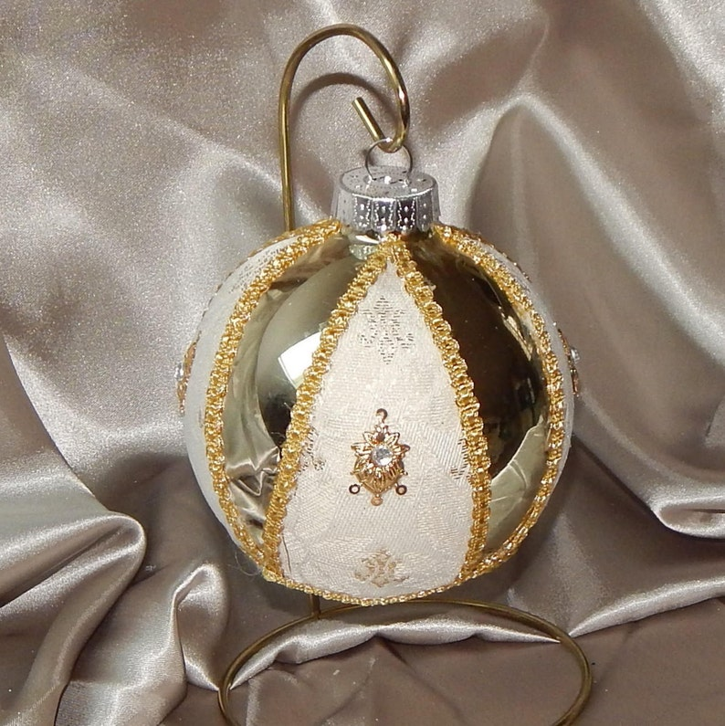 Large Gold Christmas Ornament Elegant Christmas Ornament Fancy Christmas Ornament Rhinestone Christmas Ornamnet Glam Christmas Ornamnet