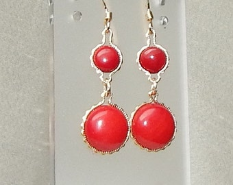 Red Coral earrings,red coral and gold earrings,red coral statement earrings,red coral fashion earrings,Christmas red coral earrings,