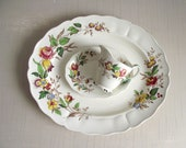 Rosalind Serving Platter, Creamer Relish Plate , Grindley Marlborough Royal Petal China , Farmhouse Kitchen