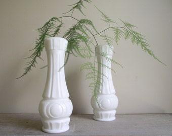 Vintage Milk Glass Vase , Art Deco Style Vase , White Milk Glass Vase , Mid Century Modern Vase , Wedding Decor