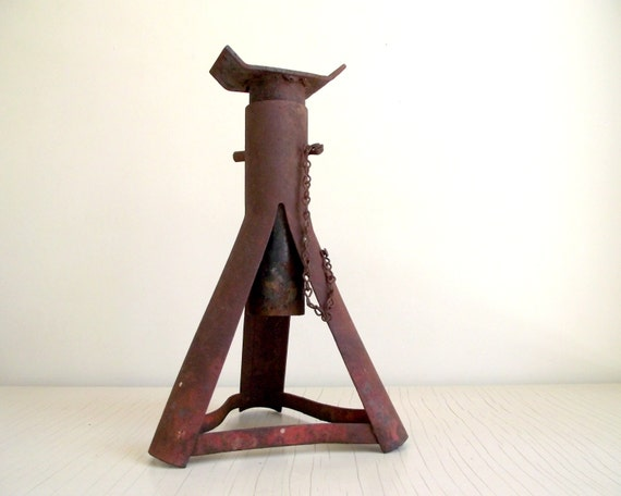 image 0 Vintage Jack Stand Adjustable Metal Trailer Rustic | Etsy