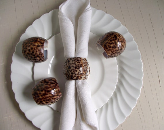 Natural Spotted Brown Cowry Seashell Napkin Rings Coastal Beach House Table Decor Set of 4 Cowrie Shell Napkin Rings