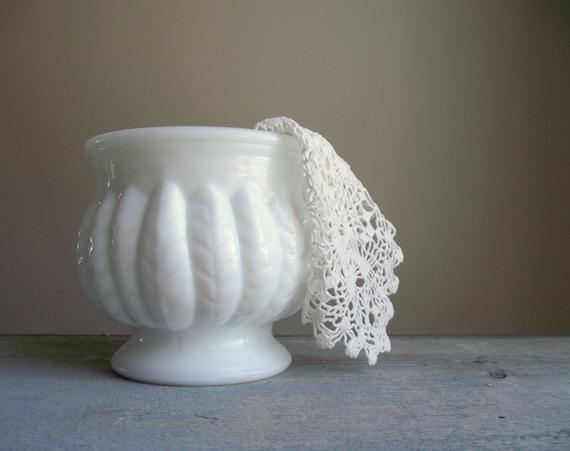 White Milk Glass Vase Planter Pot 1950s Randall Glass Etsy