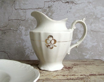 Ironstone Cream Pitcher by Dudson Wilcox & Till in Royal Pattern , Farmhouse Antique Semi Porcelain Creamer