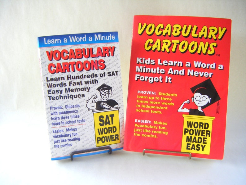 SAT Word Power Vocabulary Cartoons English Vintage Book School Writer  Teacher Tutoring Student Learner College Prep High School