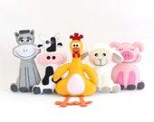 Farm Animal Sewing Patterns, Felt Stuffed Barnyard Patterns, Plush Cow, Chicken, Sheep, Pig & Donkey, Easy Hand Sewing PDF SVG DXF