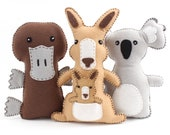 Australian Animal Sewing Patterns, Felt Hand Sewing Patterns for Kangaroo, Platypus, Koala, Plush Felt Stuffed Aussie Animals, PDF SVG DXF