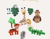Jungle Mobile Sewing Pattern, Safari Animal Nursery Mobile Decor, DIY Nursery Mobile, Giraffe, Tiger, Zebra, Elephant, Monkey, PDF SVG