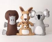 Australian Animal Sewing Patterns, Felt Hand Sewing Patterns for Kangaroo, Platypus, Koala, Plush Felt Stuffed Aussie Animals, PDF SVG DXF