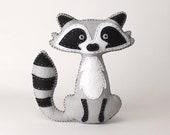 Raccoon Stuffed Animal Sewing Pattern, Felt Hand Sewing Raccoon Plushie Pattern, Raccoon Softie Pattern, Instant Download PDF SVG DFX