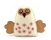 Felt Owl Sewing Pattern, Stuffed Owl Hand Sewing Pattern, Woodland Owl, Barn Owl Softie, Plush Owl Decor, Felt Embroidered Owl, PDF SVG DXF