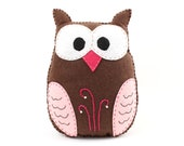 Stuffed Owl Sewing Pattern, Felt Owl Plush Softie, Woodland Owl Pattern, Owl Plushie, Owl Stuffie, Instant Download PDF SVG DXF