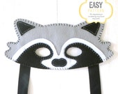 Raccoon Mask Pattern, Raccoon Mask Sewing Pattern, Woodland Mask Pattern, DIY Raccoon Mask, Instant Download PDF