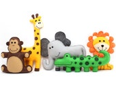 Jungle Safari Animal Patterns, Easy Hand Sewing Pattern for Felt Giraffe Elephant Crocodile Monkey & Lion, Plush Softies, PDF SVG DXF