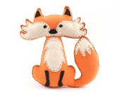 Fox Sewing Pattern, Felt Fox Hand Sewing Instructions, Easy Pattern for a Stuffed Fox, Woodland Fox Nursery Decor, PDF SVG DFX