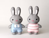 Bunny Rabbit Sewing Pattern, Felt Bunnies, Sew Your Own Plush Rabbits, Stuffed Animal Easter Bunnies, DIY Rabbit Plushies, Easy Soft Toys