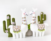 Llama and Cactus Sewing Pattern, Embroidered Felt Cactus Llama Hand Sewing Patterns, Hand Embroidery Pattern, Alpaca, Cacti, PDF SVG DFX