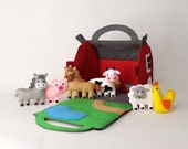 Toy Farm Sewing Pattern, Felt Barn & Farm Animals Hand Sewing DIY, Gifts for Toddlers, Instant Download PDF, Sew Your Own Barnyard Play Set