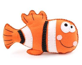 Clown fish Felt ornament fish nemo felt toy stuffed clown fish nursery decoration fish ornament fish decoration ocean baby decor