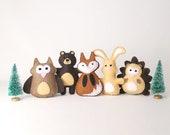 Forest Animal Sewing Patterns, Small Woodland Felties, Felt Hedgehog, Owl, Fox, Rabbit, Bear, Woodland Forest Nursery Decor, PDF SVG DXF