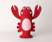 Lobster Sewing Pattern, Stuffed Red Lobster Pattern, Plush Felt Lobster Sewing Pattern, Lobster Softie, Crustacean Ocean Sea, PDF SVG DXF
