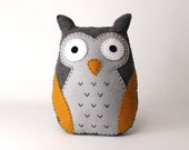 Felt Owl Sewing Pattern, Stuffed Owl Plushie Hand Sewing Pattern, Owl Softie, Easy to Make Embroidered Owl, Simple Sewing Pattern for Owl