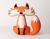 Fox Sewing Pattern, Felt Fox Hand Sewing Instructions, Easy Pattern for a Stuffed Fox, Woodland Fox Nursery Decor, PDF SVG DFX