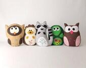 Woodland Stuffed Animal Sewing Patterns, Felt Owl, Plush Raccoon, Hedgehog Softie, Turtle Stuffie, Easy Hand Sewing Felt Forest, PDF SVG DFX