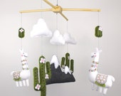 Llama Mobile Sewing Pattern, Llama Nursery Decor Hand Sewing Pattern, Felt Crib Mobile, Llama and Cactus Infant Mobile, PDF SVG DFX