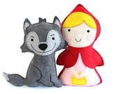Little Red Riding Hood and the Big Bad Wolf Sewing Patterns, Stuffed Animals, Felt Animals, Hand Sewing Patterns, Instant Download PDF SVG