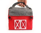 Toy Barn Sewing Pattern, Red Felt Barn Hand Sewing Pattern, Farm Pattern from Felt, Toddler Gift, Sew a Barnyard, Instant Download PDF SVG