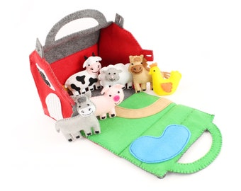 Toy Farm Sewing Pattern, Felt Barn & Farm Animals Hand Sewing DIY, Gifts for Toddlers, Instant Download PDF SVG, Sew a Barnyard Play Set