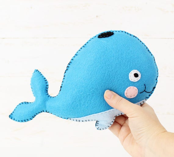 Whale Sewing Pattern Stuffed Whale Hand Sewing Pattern Felt Whale