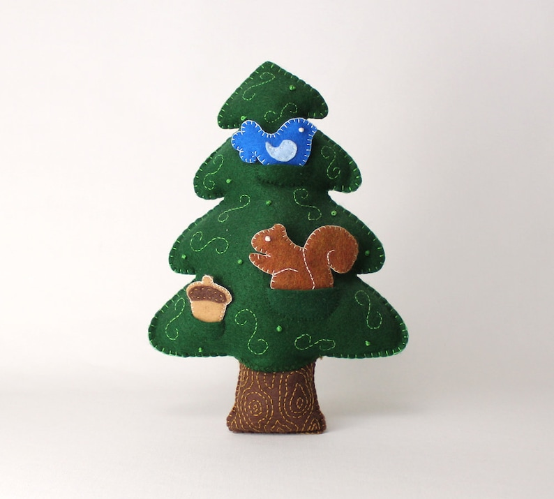 Felt Tree Pattern Evergreen Tree Sewing Pattern Hand Sew A Pine Tree Woodland Tree With Pockets Bird Squirrel Acorn Embroidery Tree