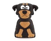 Rottweiler Sewing Pattern, Felt Rottweiler Plush Stuffed Animal, Rottie Softie Hand Sewing Dog Pattern, Gift for Rottweiler Lover, PDF SVG