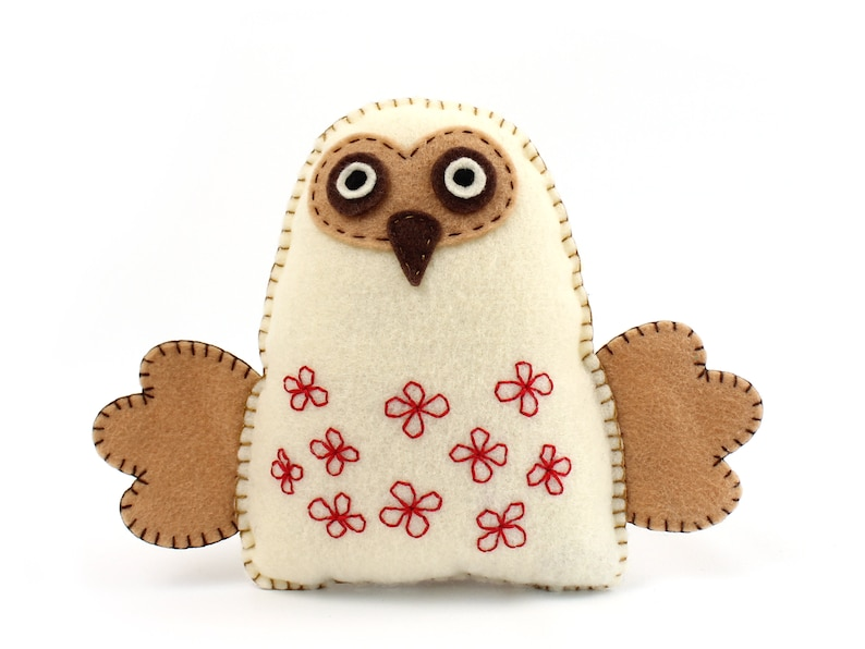Felt Owl Sewing Pattern Stuffed Owl Hand Sewing Pattern image 0