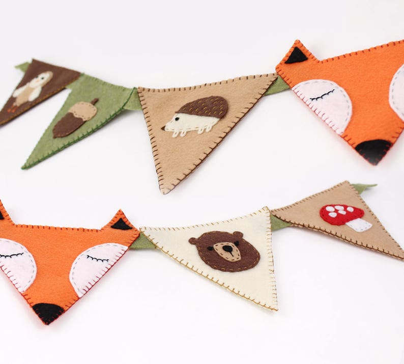 Woodland Nursery Bunting Banner Decor Sewing Pattern DIY image 0