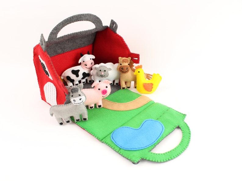 Toy Farm Sewing Pattern Felt Barn & Farm Animals Hand Sewing image 0